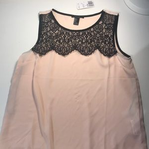 Forever 21 pink/black lace tank top